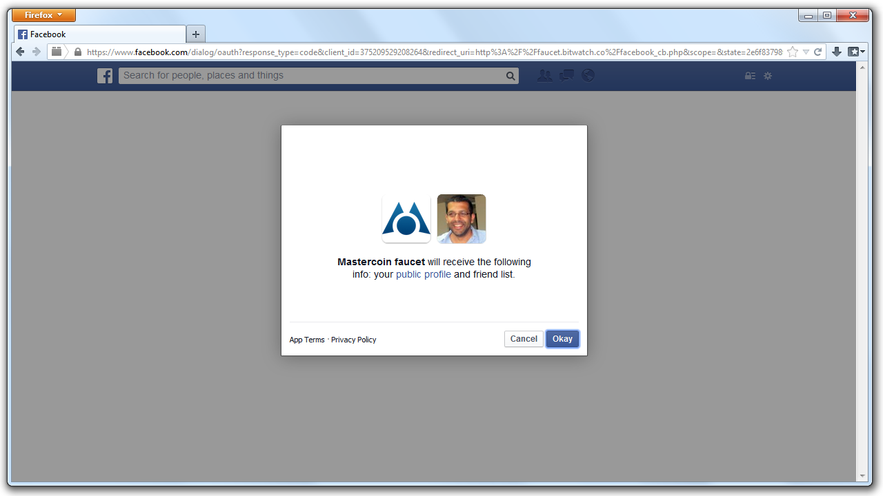 An image of the Facebook authentication