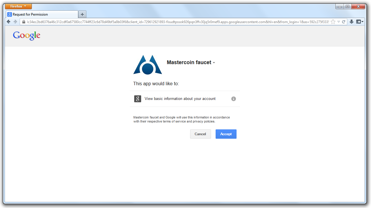 An image of the Google authentication