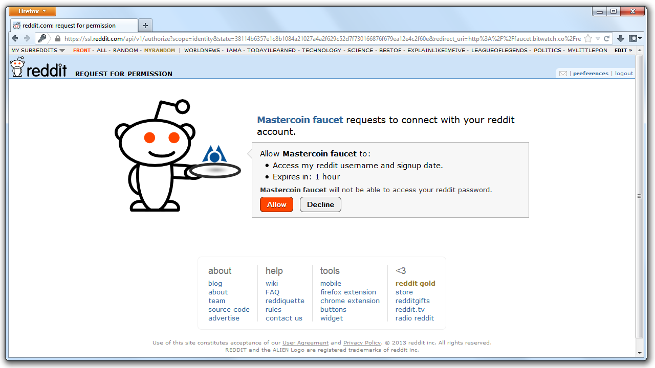 An image of the Reddit authentication